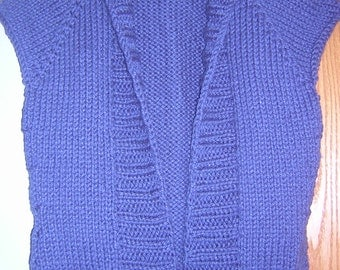 Bulky Handknitted Womens  Shawl Collared Vest