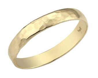 Hammered Wedding Band, Men's Gold Wedding Band, His and Hers Wedding Band, Hammered Ring, Gold Wedding Band, Gold Ring, Wedding Band Men
