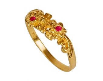 Gorgeous Ruby Floral Design 18K Gold Engagement Ring,  ruby ring ruby jewelry ruby birthstone ring july birthday ruby engagement ring