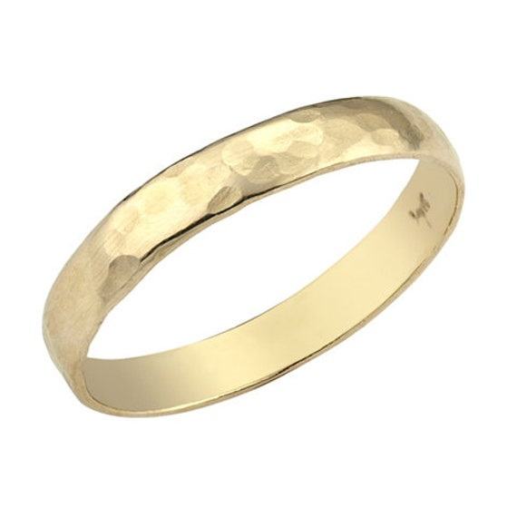 Hammered Wedding Band Mens Gold Wedding Band His And
