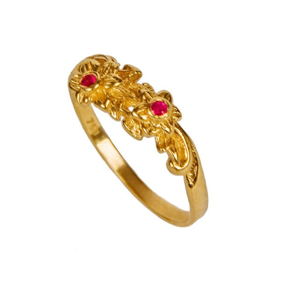 Gorgeous Ruby Floral Design 18K Gold Engagement Ring ruby