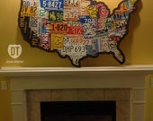 """License Plate Map of the United States 48"""" x 32"""" USA - Silhouette Cut"""