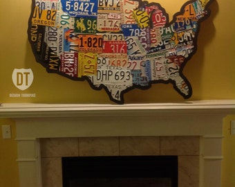"License Plate Map of the United States 48"" x 32"" USA - Silhouette Cut"