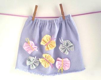 SALE Girl's BUTTERFLY Skirt, Girl's Denim Skirt, Girl's Size 4 Skirt, Girl's Size 5 Skirt, Girl's Spring Skirt, Children's Summer Skirt