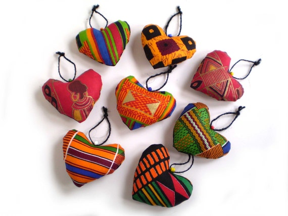 African Heart Ornaments African Print Hearts Ethnic Hearts