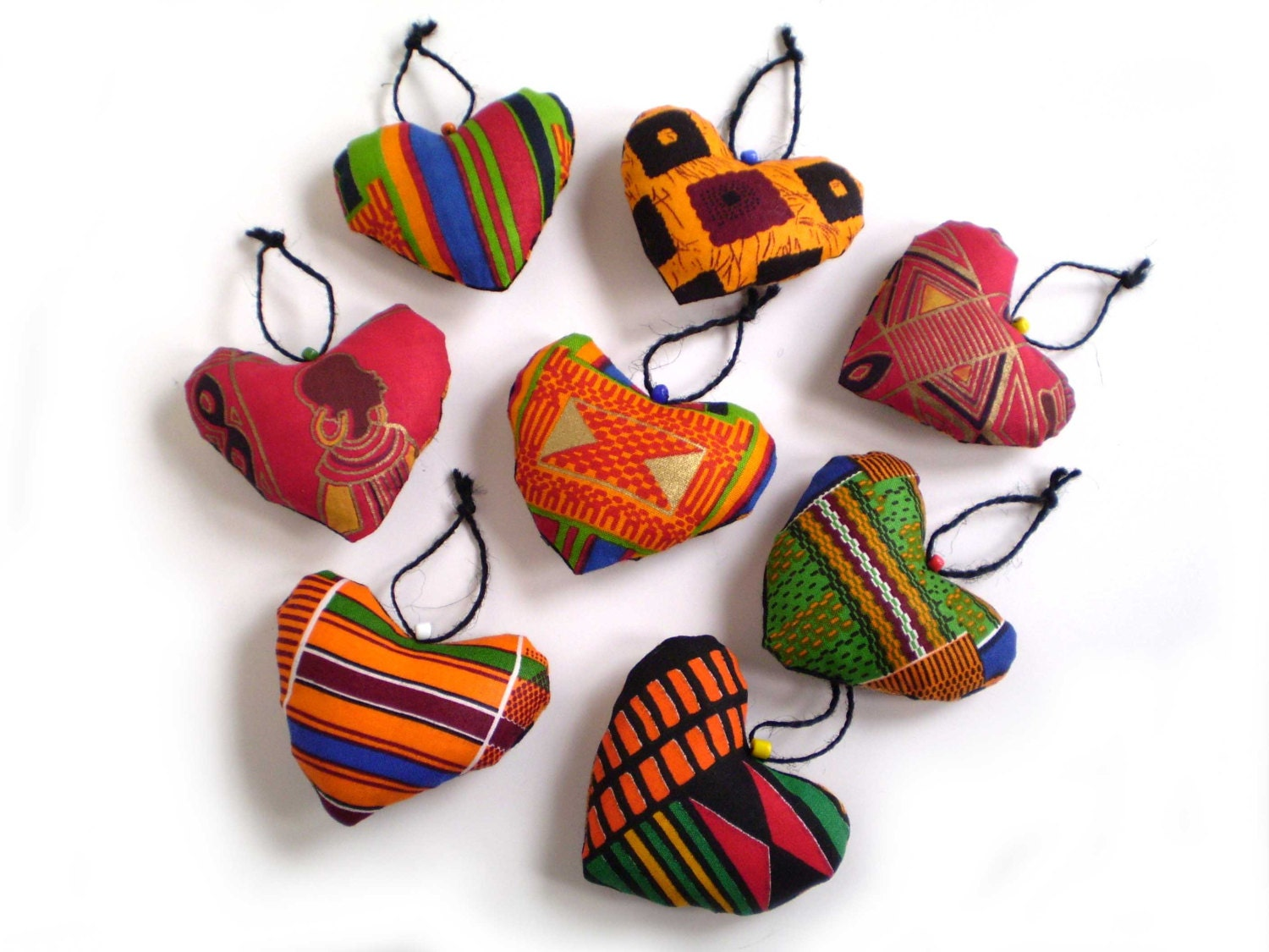 African heart ornaments african print hearts ethnic hearts for African christmas decoration
