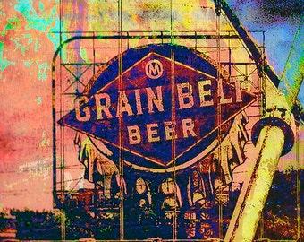 Grain Belt Beer, colorful photo art, home decor, Minnesota photo, wall art, landmark, Minneapolis art