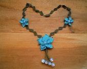 flower necklace, handmade needle lace, moonstone, turquoise