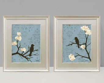 Shabby Love Bird Wall Decor Prints, Cottage Chic, Blue and cream, Large Prints, Set of Two, 9 x 12 inches