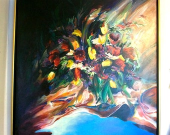 FOREVER, acrylic Botanical painting by Joseph Kinnebrew - 1993 - 42 inch by 42 inch
