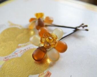 Sunny Flowers-Glass Bead Bobby Pins