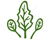 Spinach leaves digital stamp clip art green - instant download - also in black