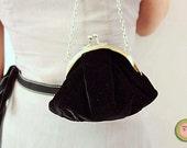 Sweet black velvet clutch bag