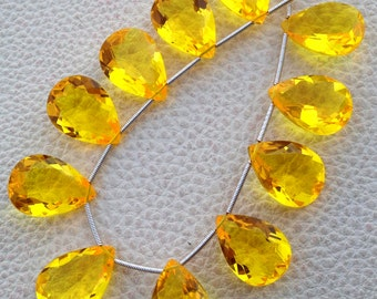 3 Matched pairs, Superb BRIGHT YELLOW Quartz, New Cut Faceted Pear Shape Briolettes,18x13mm Long,Superb