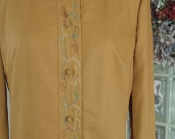 VTG 60s Dauphine Long Sleeve Embroidered Wiggle Golden Brown Shift Dress S M