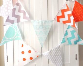 Baby Shower Banner, Bunting, Pennant Fabric Flags, Orange, Aqua, Grey, Chevron, Polka Dots, Stripes, Boy Nursery Decor, Party Garland