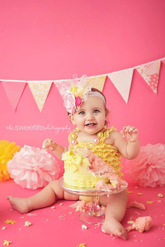 Shabby Chic Banner, Bunting, Fabric Pennant Flags, Baby Girl Nursery, Photo Prop, Birthday Party, Baby Shower, Pink, Yellow, Deer, Flower