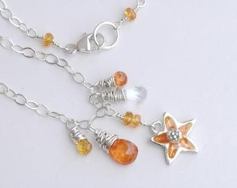 Orange Fire and Moonstone Necklace (Spessartite Garnet, Rainbow Moonstone, Sapphire, Silver)
