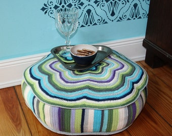 "POUF ""CAMILLA"" -  Crochet Pattern, Cushion (PDF in English, Deutsch)"