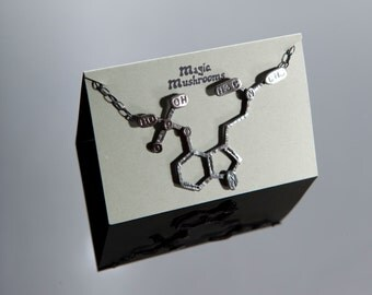 Psilocybin Chemical Structure Necklace in Sterling Silver