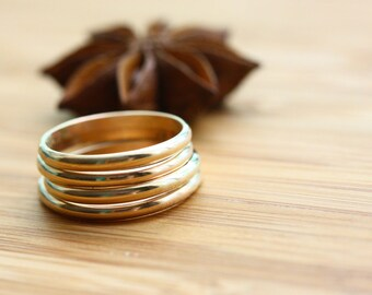 Thin, solid 14K gold stacker ring- Size 7 available