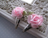 Cabbage Rose . baby snap clips . pink satin . toddler hair accessory
