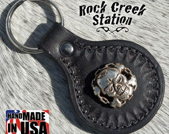 Leather Key Ring Fob with Skull in Chains Concho, Handmade