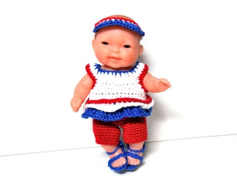 Red, White and Blue Doll, Lots to Love Berenguer Doll, 5 Inch Doll, 4th of July Girl Doll