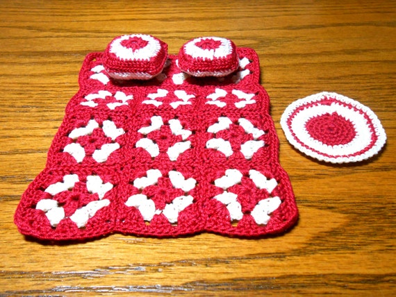 Miniature Granny Square Bedspread Pillows and Rug, Doll Bed Spread, Red Doll Bedspread,