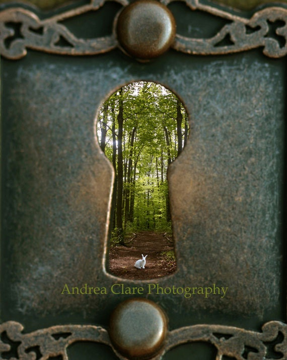 Alice in Wonderland, Rabbit, Follow Me, 8x10 Fine Art Photograph, Vintage Key Hole, Forrest, Surreal, Whimsical, Photo, Print, Childrens