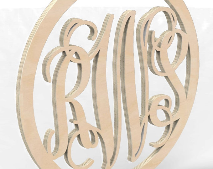 "3 Letter Monogram Door or Wall Hanger w Circular Frame 18"" tall Custom Made."