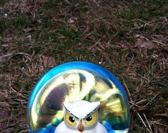 vintage owl paper weight glass ball crystal bob st clair