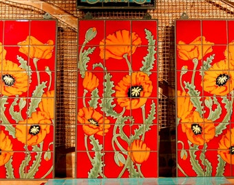 Red & Orange Poppies Hand Glazed Tile Mural Triptych