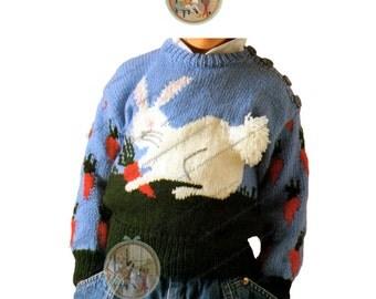 Vintage Pattern to Knit Rabbit Pull Over Sweater for Children - PDF Instant Download - PrettyPatternsPlease
