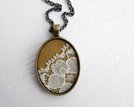 Mustard yellow necklace autumn fall wedding lace pendant for Mustard colored costume jewelry