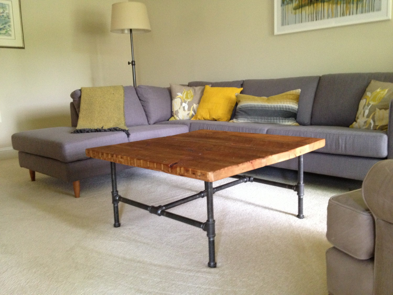 Wood Coffee table with steel pipe legs made of by ...
