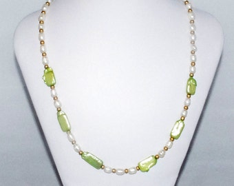 "Lime Green and Cream Pearl Necklace ""Summer Pearls"""