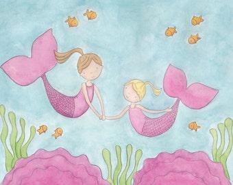 Mermaid Sisters-Brunette and Blonde - 8X10 Print