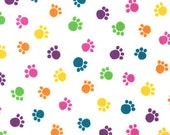 Multi Color Paw Print from the Prisma Cats Collection, by Moda, 1 yard