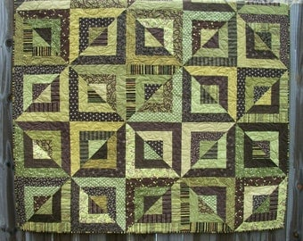 Geometric Quilt Green Brown Handmade Beveled Blocks