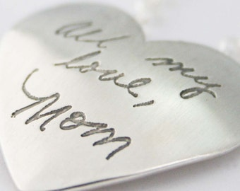 Heart Pendant Personalized with Your Handwriting