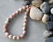 Spring -  Dusty Pink and Creamy Natural Lepidolite Necklace