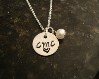 Initials Sterling Silver Stamped Necklace with Freshwater Pearl