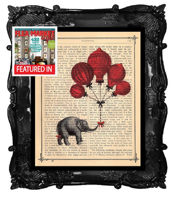 ELEPHANT art print - antique book page print - elephant with balloons art print
