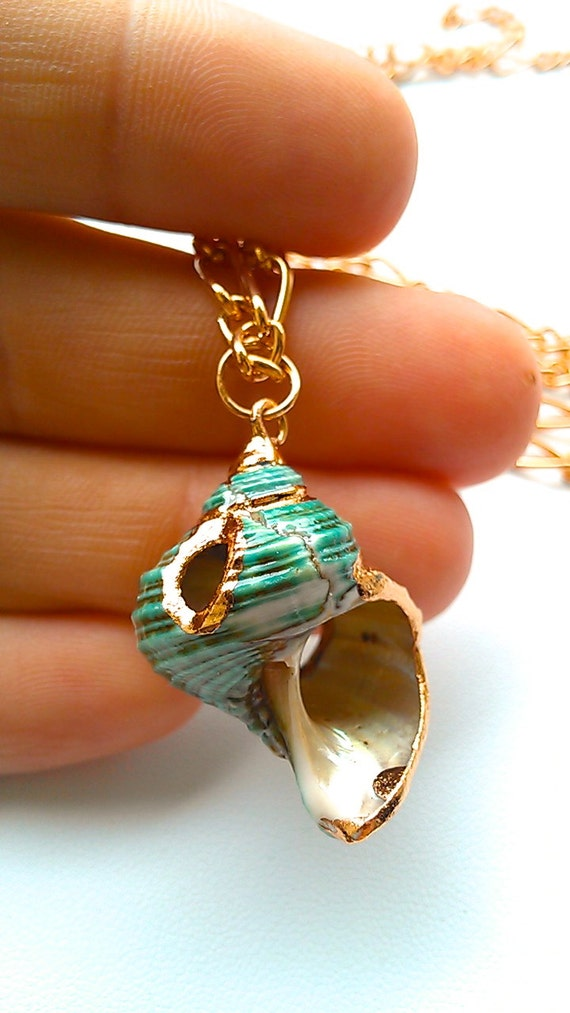 Teal Snail Shell Necklace- Laced with Liquid Rose Gold- MALIBU Collection- Summer 2014