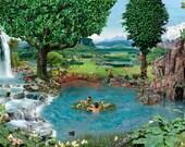 Garden of Eden signed fine art print, mountains, animals, birds, landscape botanical Photography
