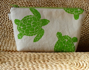 Light Green Sea Turtle Hand Printed on Canvas Zipper Bag to Benefit Marine Discovery Center Kids Programs