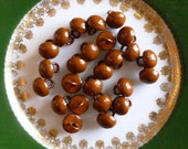 20 Antique Shoe Buttons ~  Brown or Cinnamon ~  8 mm - Round top, Circa 1915 ~Never Used,  Made in USA  ~ Victorian shoe Buttons ~ 20 in Lot