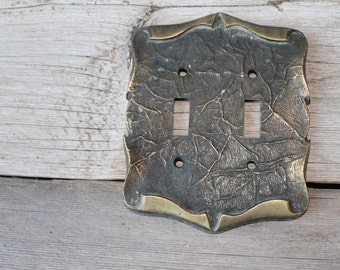 Vintage Brass Double Switchplate