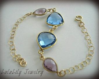 Quartz Bracelet, Gold, Handmade Gemstone Bracelet, Chain Bracelet, Blue, Purple, Fine Jewelry, lululily